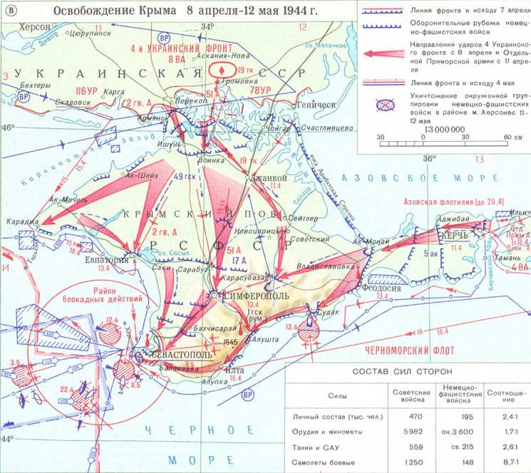 в) Освобождение Крыма 8 апреля